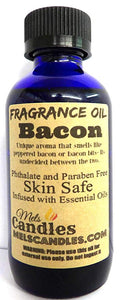 Bacon 4oz   118.29 ml Glass Bottle of Skin Safe Fragrance Oil, Candles, soap and More - mels-candles-more