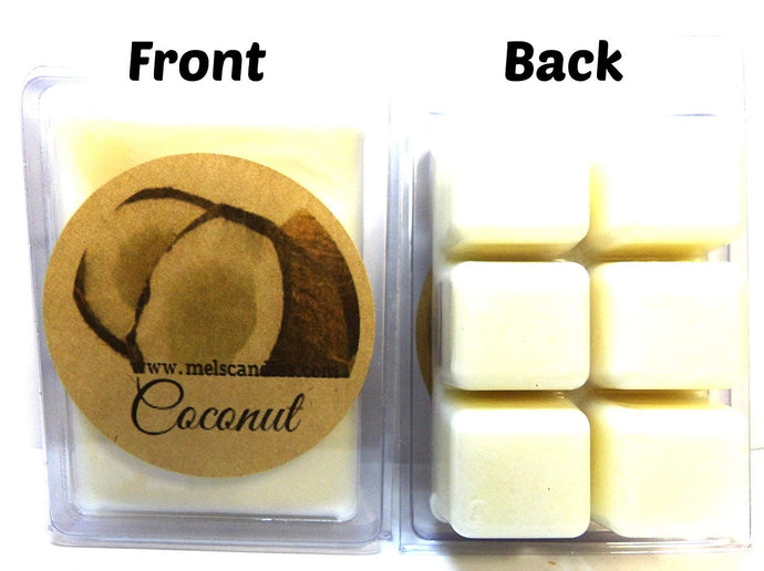 Coconut 3.2 Ounce Pack of Handmade Soy Wax Tarts - Scent Brick, Wickless Candle - mels-candles-more