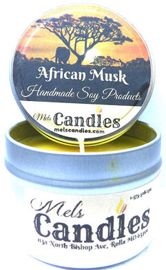 African Musk - 4oz All Natural Hand Made Soy Candle Tin - mels-candles-more