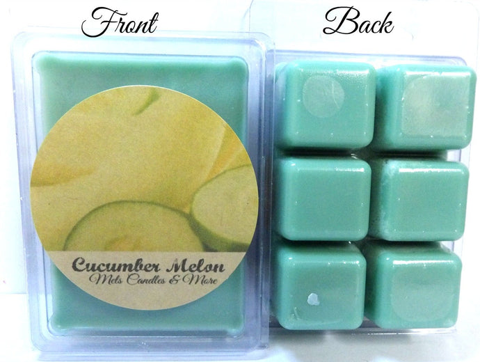 Cucumber Melon - 3.2 Ounce Pack of Soy Wax Tarts - Scent Brick - Wickless Candle Tart Warmer Wax - mels-candles-more