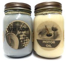 Load image into Gallery viewer, Combo Burnt Rubber and Motor Oil Set of Two 16oz Country Jar Soy Candles Great Unique Scents for Men - mels-candles-more