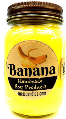 Banana 16 Ounce Country Jar 100% Soy Candle - Handmade in USA - mels-candles-more