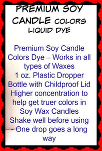 Set of 5 Liquid Candle Dyes - 1oz Amber Glass Dropper Bottle with Childproof Lid Premium Dye for All Waxes Exp Soy Wax - mels-candles-more