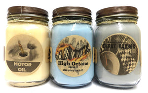 Combo - High Octane (Racing Fuel), Motor Oil, Burnt Rubber Set of Three (3) 16oz Country Jar Soy Candles Great Unique Scents for Men - mels-candles-more