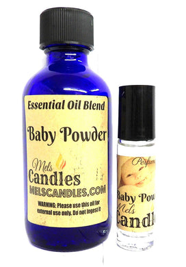 Combo - Baby Powder Combo 4oz   118.29 Ml Bottle of Skin Safe Fragrance Perfume Oil and 10 Ml Bottle of Roll-On Perfume Oil - mels-candles-more