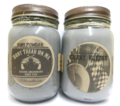 COMBO - Burnt Rubber and Gun Powder Set of TWO 16oz Country Jar Soy Candles Great Unique Scents - mels-candles-more