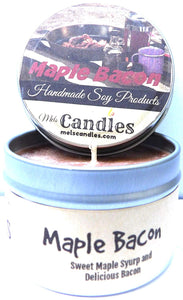 Maple Bacon 4oz All Natural Soy Candle Tin Approximate Burn Time 36 Hours - mels-candles-more