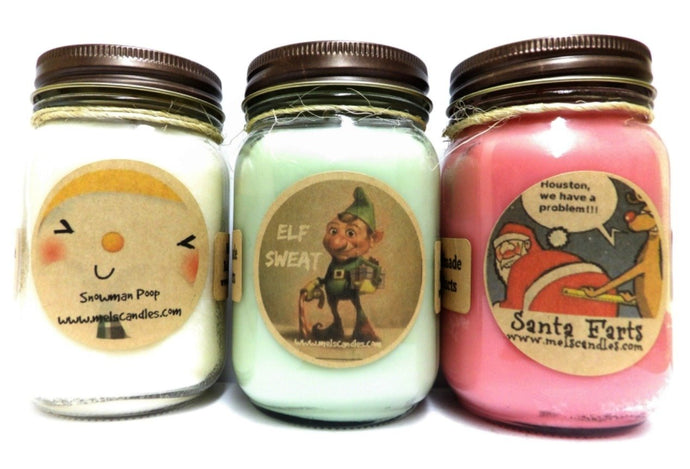 Santa Farts, Snowman Poop and Elf Sweat- Set of Three 16oz All Natural Novelty Soy Candles - mels-candles-more