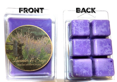 Lavender and Sage 3.2 Ounce Pack of Soy Wax Tarts - Scent Brick, Wickless Candle - mels-candles-more