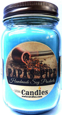 Papa's Pipe 16oz All Natural Country Jar Soy Candle - Wonderful Tobacco and Cherry Blend Handmade - mels-candles-more
