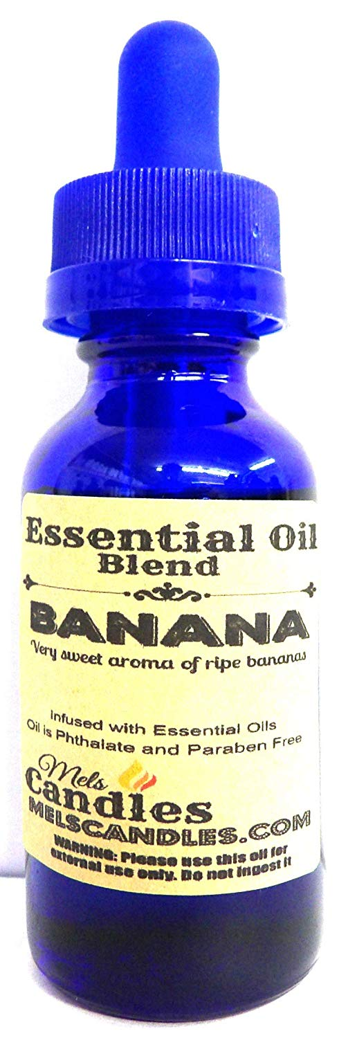 Bananas 1oz   29.5ml Blue Glass Bottle of Premium Grade Infused with Essential Oil, 1oz Skin Safe Fragrance - mels-candles-more