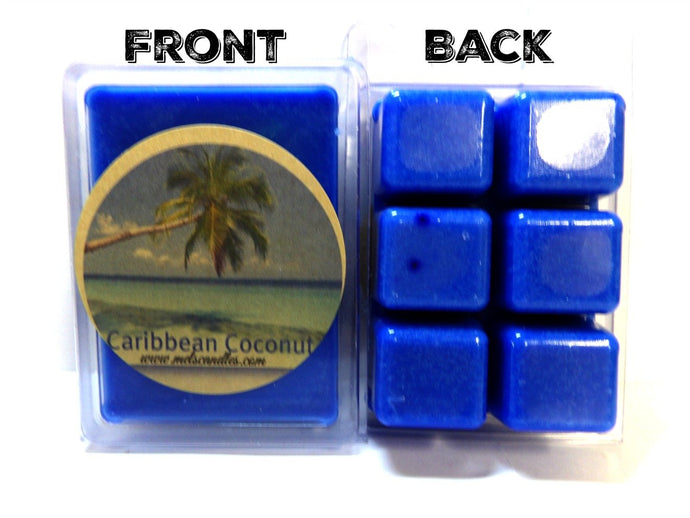 Caribbean Coconut - 3.2 Ounce Pack of Soy Wax Tarts - Scent Brick - Wickless Candle Tart Warmer Wax - mels-candles-more