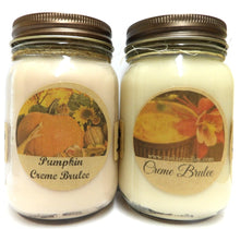 Load image into Gallery viewer, Combo - Creme Brulee and Pumpkin Creme Brulee Set of Two 16oz Country Jar Soy Candles - mels-candles-more