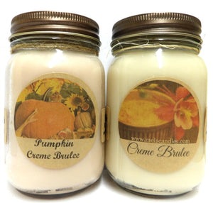 Combo - Creme Brulee and Pumpkin Creme Brulee Set of Two 16oz Country Jar Soy Candles - mels-candles-more