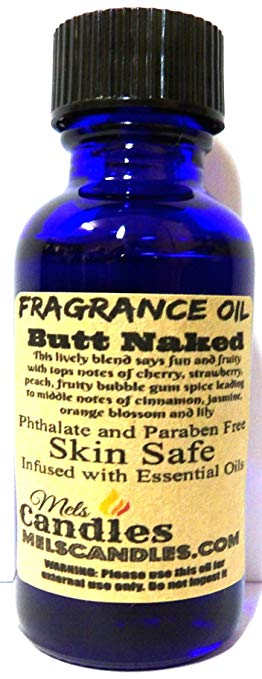 Butt Naked 1oz   29.5ml Cobalt Blue Glass Bottle of Premium Grade Fragrance Oil - Skin Safe Oil, Soaps, Lotion, Bath Bombs and More - mels-candles-more