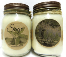 Load image into Gallery viewer, COMBO Sage and Lavender Sage - Set of Two Country Jar 16oz All Natural Soy Candles - mels-candles-more