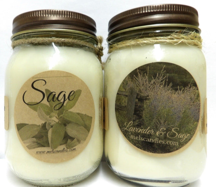 COMBO Sage and Lavender Sage - Set of Two Country Jar 16oz All Natural Soy Candles - mels-candles-more