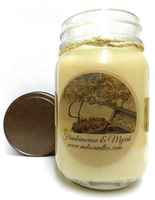 Frankincense and Myrrh 16oz All Natural Soy Candle Made with Essential Oil - mels-candles-more
