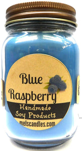 Blue Raspberry 16 Ounce Country Jar 100% Soy Candle - Handmade in USA - mels-candles-more