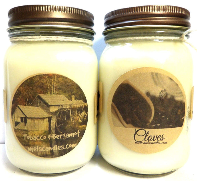 COMBO - Cloves and Tobacco Bergmot - Set of Two 16oz All Natural Country Jar Soy Candles - mels-candles-more