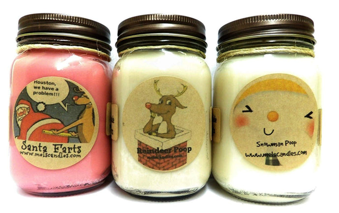 COMBO - Santa Farts, Snowman Poop and Reindeer Poop- Set of Three 16oz All Natural Novelty Soy Candles - mels-candles-more