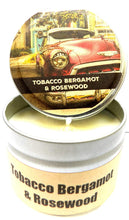 Load image into Gallery viewer, Tobacco Bergamot and Rosewood - 4oz All Natural Hand Made Tin Soy Candle, Take It Any Where - mels-candles-more
