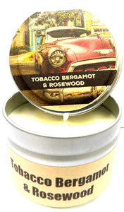 Tobacco Bergamot and Rosewood - 4oz All Natural Hand Made Tin Soy Candle, Take It Any Where - mels-candles-more
