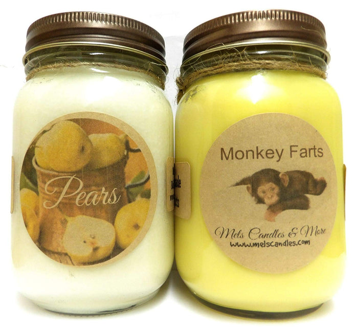 Monkey Farts and Pears - Set of Two 16oz All Natural Soy Candles - mels-candles-more