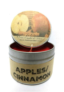 Apples and Cinnamon 4oz All Natural Soy Candle Tin, Take It Any Where - mels-candles-more