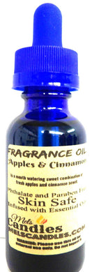 Apples and Cinnamon 1oz   29.5ml Blue Glass Bottle -Skin Safe Oil Premium Grade Fragrance Oil, Candles, Lotions Soap and More - mels-candles-more