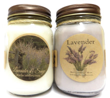Load image into Gallery viewer, Combo - Lavender and Lavender and Sage Set of Two 16oz Soy Candles APX Burn Time 144 Hours Each - mels-candles-more