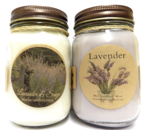 Combo - Lavender and Lavender and Sage Set of Two 16oz Soy Candles APX Burn Time 144 Hours Each - mels-candles-more