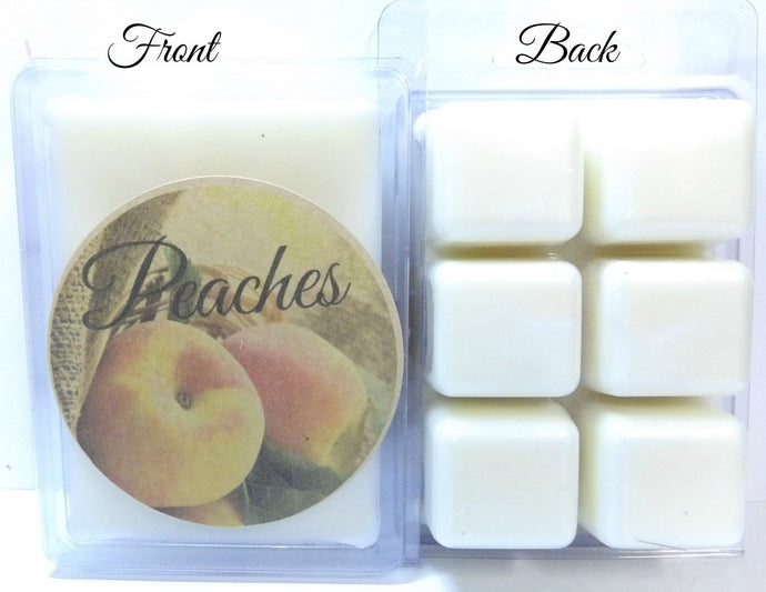 Peaches - 3.2 Ounce Pack of Soy Wax Tarts (6 Cubes Per Pack) - Scent Brick - mels-candles-more