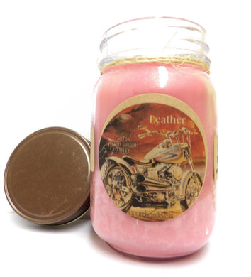 Leather 16oz Country Jar Handmade Soy All Natural Soy Candle Approximate Burn Time 144 Hours - mels-candles-more
