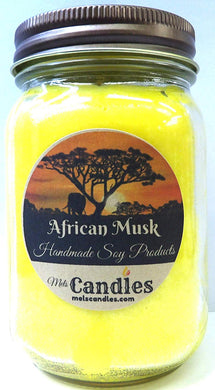 African Musk - 16oz Country Jar All Natural Hand Made Soy Candle Alluring Aroma That You are Sure to Love - mels-candles-more