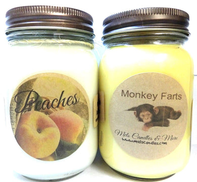 COMBO - Monkey Farts and Fresh Peach - Set of Two 16oz All Natural Soy Candles - mels-candles-more
