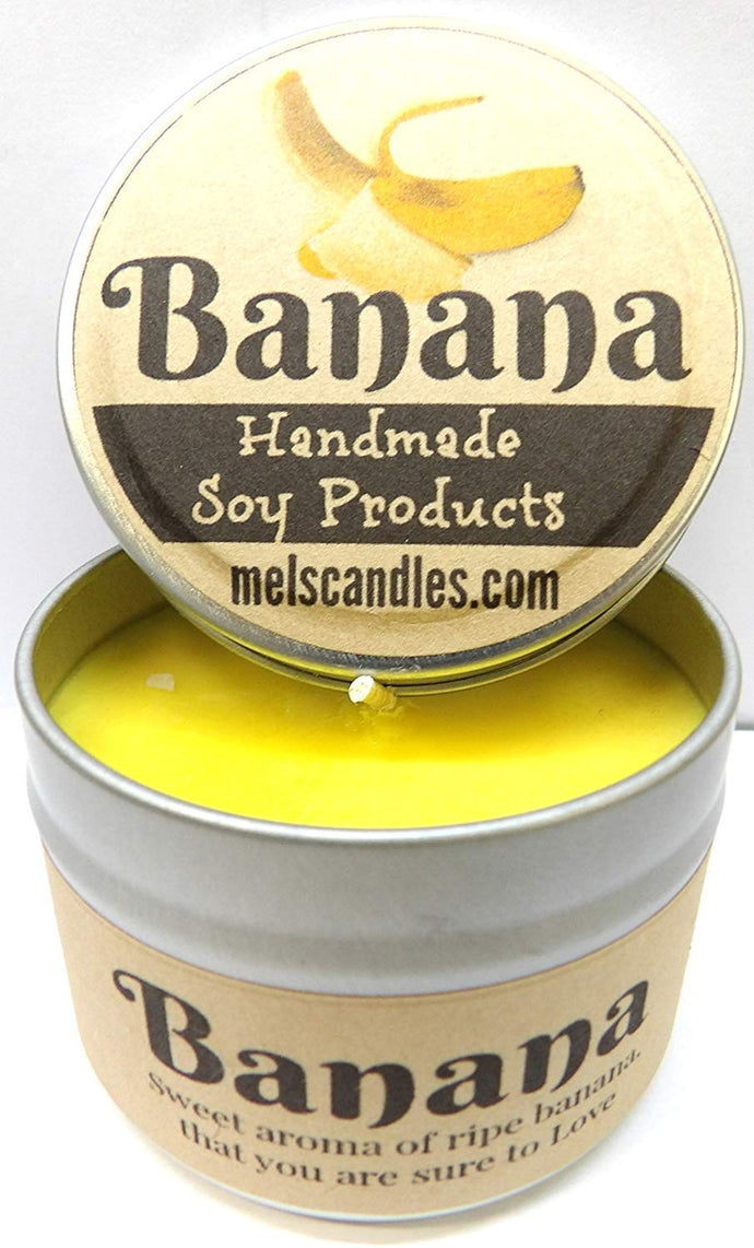 Banana - 4oz All Natural Hand Made Tin Soy Candle, Take It Any Where - mels-candles-more