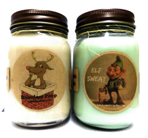 Combo DEAL - Elf Sweat and Reindeer Poop Set of Two Novelty 16oz All Natural Soy Candles - mels-candles-more