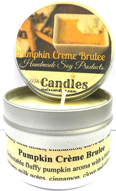 Pumpkin Brulee 4oz All Natural Novelty Tin Soy Candle, Take It Any Where Approximate Burn Time 30 Hours - mels-candles-more