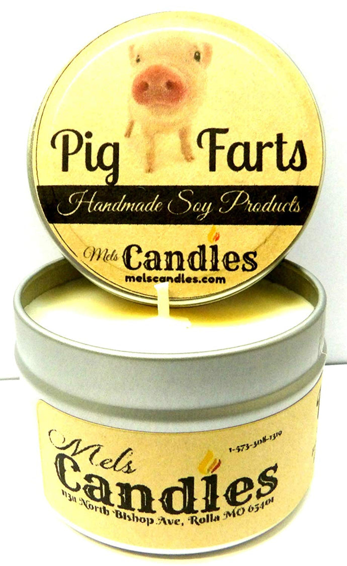 Pig Farts (Smells Like Bacon Bits) 4 oz All Natural Handmade Soy Candle Tin - mels-candles-more