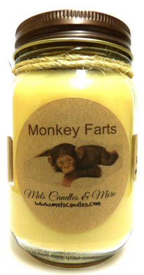 Monkey Farts - 16oz Country Jar All Natural Soy Candle Approximate Burn Time 144 Hours - mels-candles-more
