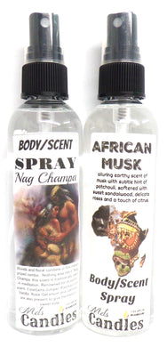 COMBO - Nag Champa and African Musk 4 Ounce Bottles of Body Sprays