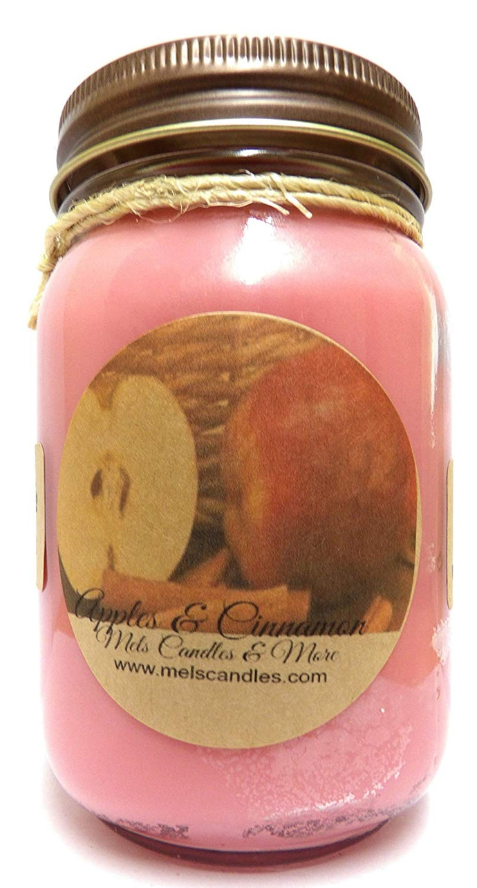 Apples and Cinnamon 16 Ounce Country Jar 100% Soy Candle - Handmade in USA - mels-candles-more