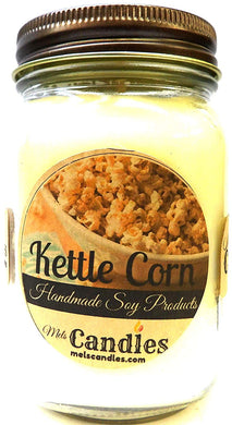 Kettle Corn 16 Ounce Country Jar 100% Soy Candle - Handmade in USA - mels-candles-more