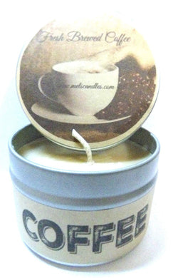 Coffee (Fresh Brewed) 4oz All Natural Soy Candle Tin Handmade in Rolla Missouri - mels-candles-more