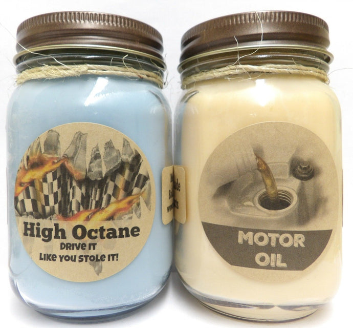 Combo - High Octane (Racing Fuel) and Motor Oil Set of Two 16oz Country Jar Soy Candles Great Unique Scents for Men - mels-candles-more
