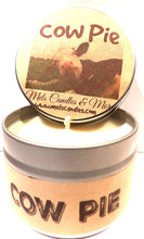 Load image into Gallery viewer, Cow Pie - Fresh Cut Grass - 4 ounce All Natural Soy Candle Tin - Handmade in Rolla Missouri - mels-candles-more