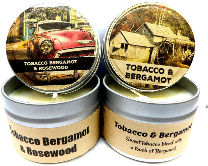 COMBO - Tobacco Bergamot and Tobacco Bergamot and Rosewood - Set of TWO 4oz All Natural Soy Candle Tins - mels-candles-more