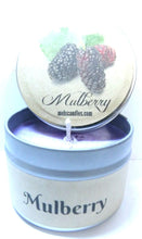 Load image into Gallery viewer, 4oz Soy Candle Tin - Mulberry - Handmade with Essential Oil Easy to take any where - mels-candles-more
