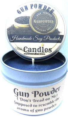 Gun Powder - 4 oz Handmade Soy Candle Tin - mels-candles-more